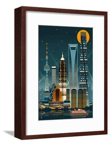 Shanghai, China - Retro Skyline (no text)-Lantern Press-Framed Art Print