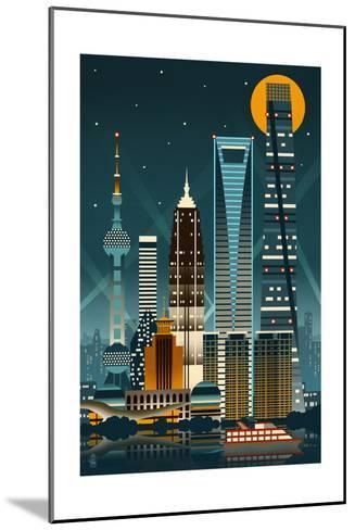 Shanghai, China - Retro Skyline (no text)-Lantern Press-Mounted Art Print