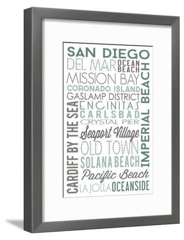 San Diego, California - Green Typography-Lantern Press-Framed Art Print