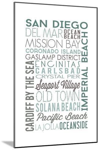 San Diego, California - Green Typography-Lantern Press-Mounted Art Print