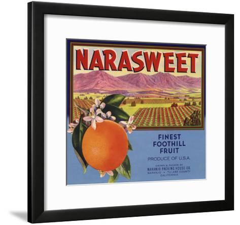 Narasweet Brand - Naranjo, California - Citrus Crate Label-Lantern Press-Framed Art Print