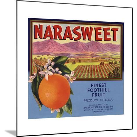 Narasweet Brand - Naranjo, California - Citrus Crate Label-Lantern Press-Mounted Art Print