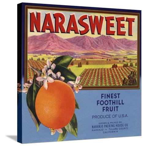 Narasweet Brand - Naranjo, California - Citrus Crate Label-Lantern Press-Stretched Canvas Print
