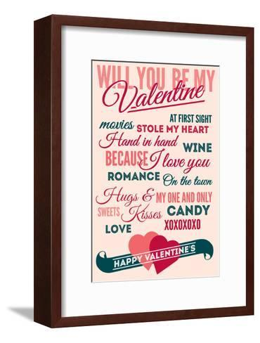 Be Mine - Valentines Day Typography-Lantern Press-Framed Art Print