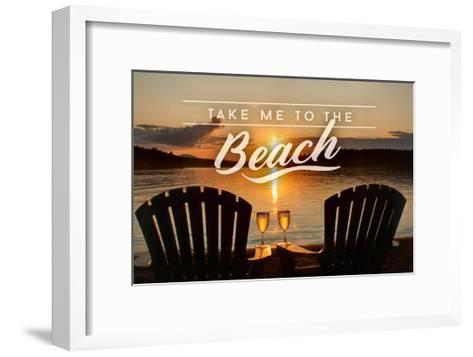 Take Me to the Beach - Sunset View - Sentiment-Lantern Press-Framed Art Print