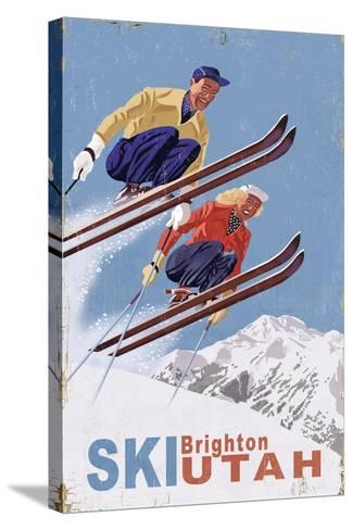 Brighton, Utah - Vintage Skiers-Lantern Press-Stretched Canvas Print