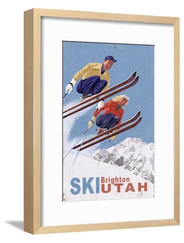 Brighton, Utah - Vintage Skiers-Lantern Press-Framed Art Print