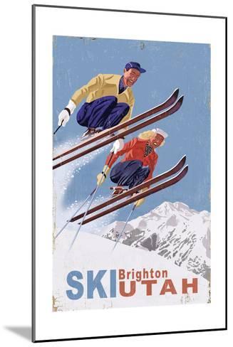 Brighton, Utah - Vintage Skiers-Lantern Press-Mounted Art Print