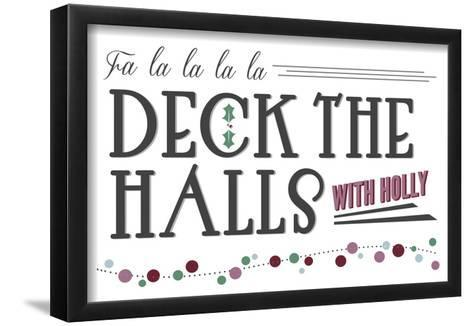 Deck the Halls with Holly (white background)-Lantern Press-Framed Art Print