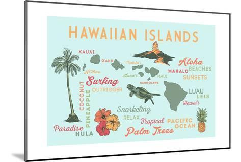 Hawaiian Islands (Version 2) - Typography and Icons-Lantern Press-Mounted Art Print