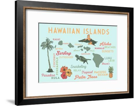 Hawaiian Islands (Version 2) - Typography and Icons-Lantern Press-Framed Art Print