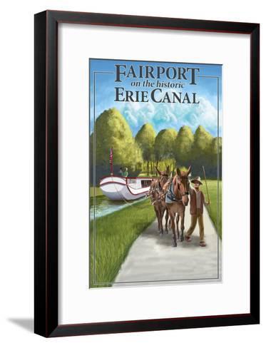 Fairport, New York - Horses Along Canal-Lantern Press-Framed Art Print