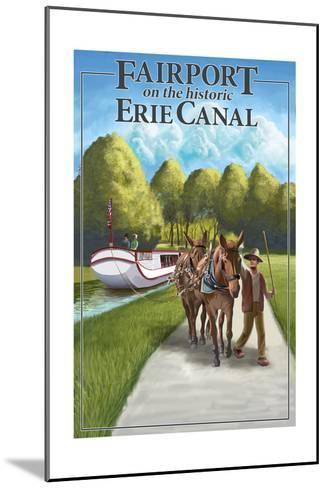Fairport, New York - Horses Along Canal-Lantern Press-Mounted Art Print