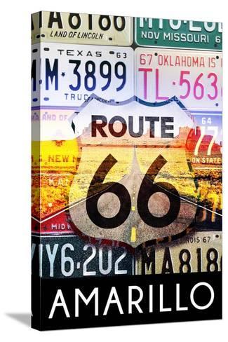 Amarillo Texas - Route 66 License Plates-Lantern Press-Stretched Canvas Print