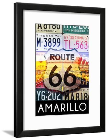 Amarillo Texas - Route 66 License Plates-Lantern Press-Framed Art Print