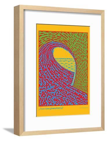 The Next Wave - Green and Blue - John Van Hamersveld Poster Artwork-Lantern Press-Framed Art Print