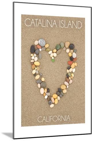 Catalina Island, California - Stone Heart on Sand-Lantern Press-Mounted Art Print