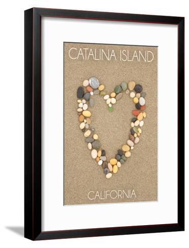 Catalina Island, California - Stone Heart on Sand-Lantern Press-Framed Art Print