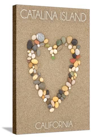 Catalina Island, California - Stone Heart on Sand-Lantern Press-Stretched Canvas Print