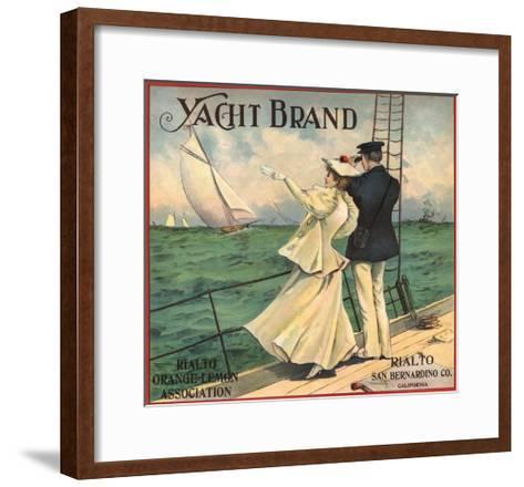Yacht Brand - Rialto, California - Citrus Crate Label-Lantern Press-Framed Art Print