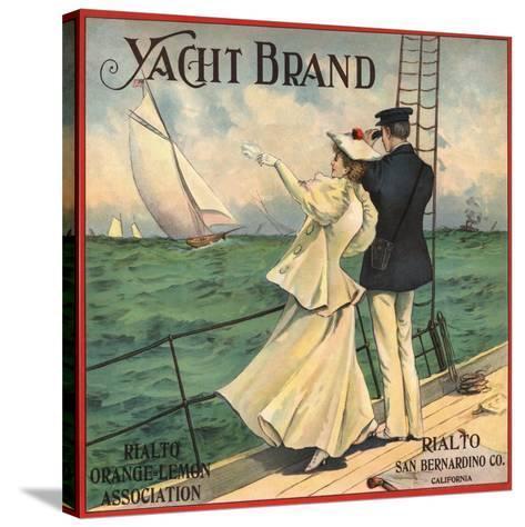 Yacht Brand - Rialto, California - Citrus Crate Label-Lantern Press-Stretched Canvas Print