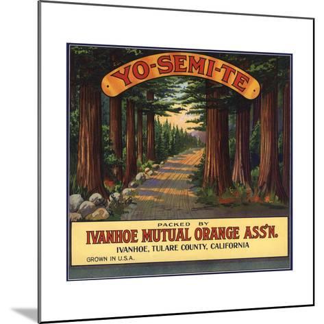 Yosemite Brand - Ivanhoe, California - Citrus Crate Label-Lantern Press-Mounted Art Print