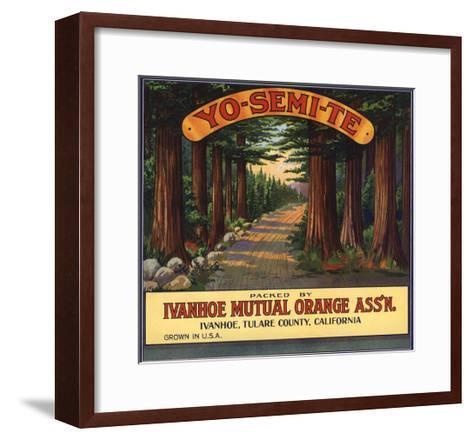 Yosemite Brand - Ivanhoe, California - Citrus Crate Label-Lantern Press-Framed Art Print