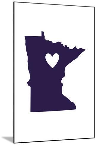 Minnesota - State Outline and Heart-Lantern Press-Mounted Art Print
