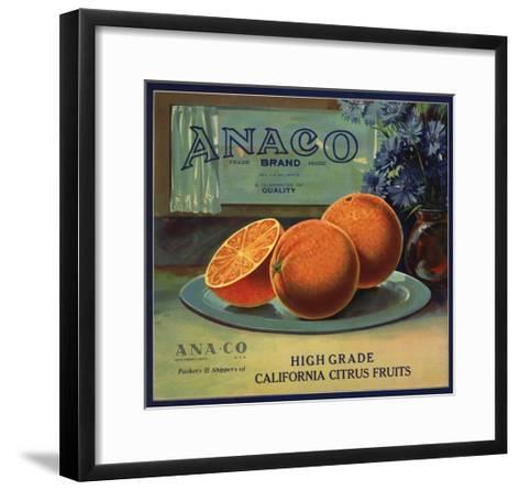 Anaco Brand - California - Citrus Crate Label-Lantern Press-Framed Art Print
