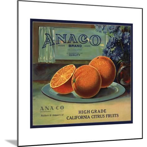 Anaco Brand - California - Citrus Crate Label-Lantern Press-Mounted Art Print