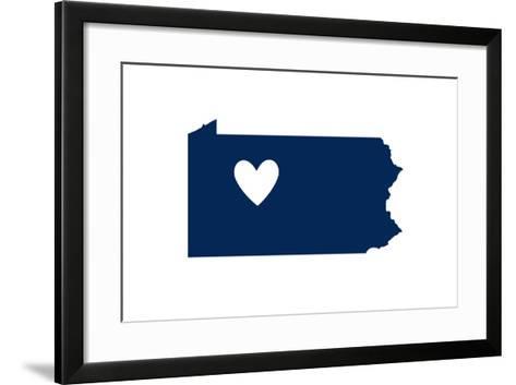 Pennsylvania - State Outline and Heart-Lantern Press-Framed Art Print