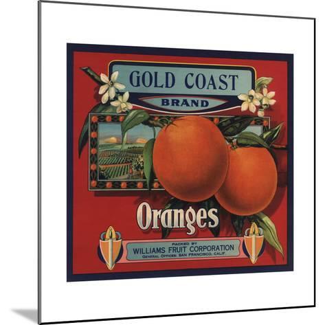 Gold Coast Brand - San Francisco, California - Citrus Crate Label-Lantern Press-Mounted Art Print