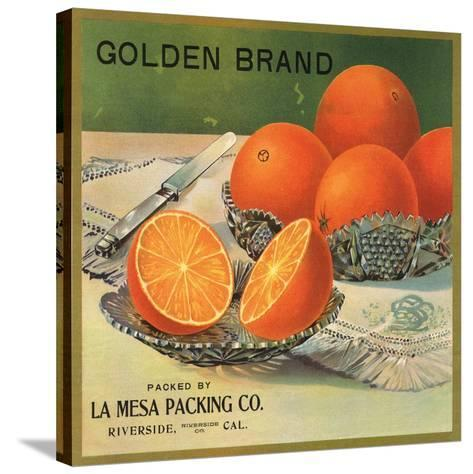 Golden Brand - Riverside, California - Citrus Crate Label-Lantern Press-Stretched Canvas Print