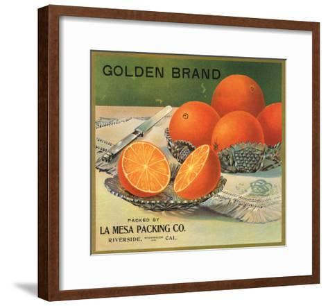 Golden Brand - Riverside, California - Citrus Crate Label-Lantern Press-Framed Art Print