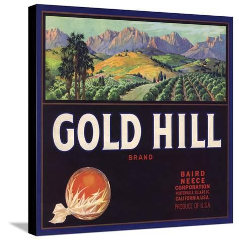 Gold Hill Brand - Porterville, California - Citrus Crate Label-Lantern Press-Stretched Canvas Print