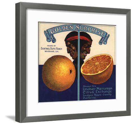 Golden Surprise Brand - Lindsay, California - Citrus Crate Label-Lantern Press-Framed Art Print
