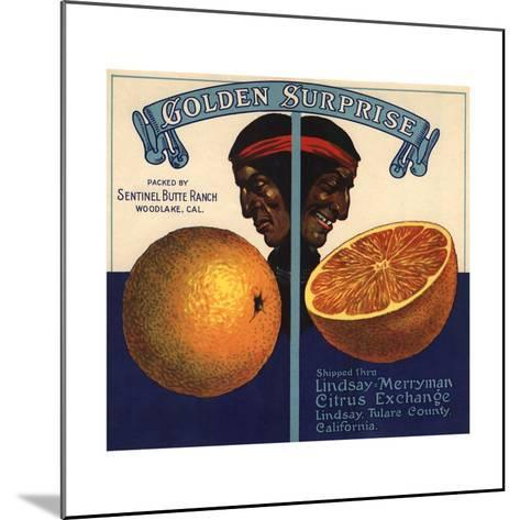 Golden Surprise Brand - Lindsay, California - Citrus Crate Label-Lantern Press-Mounted Art Print