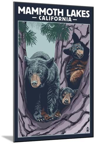 Mammoth Mountain, California - Black Bear and Cubs in Tree-Lantern Press-Mounted Art Print