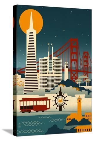 San Francisco, California - Retro Skyline (no text)-Lantern Press-Stretched Canvas Print