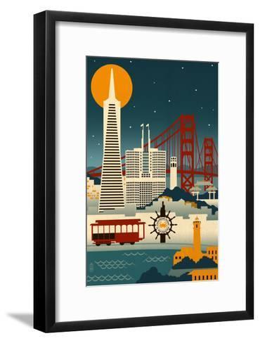 San Francisco, California - Retro Skyline (no text)-Lantern Press-Framed Art Print