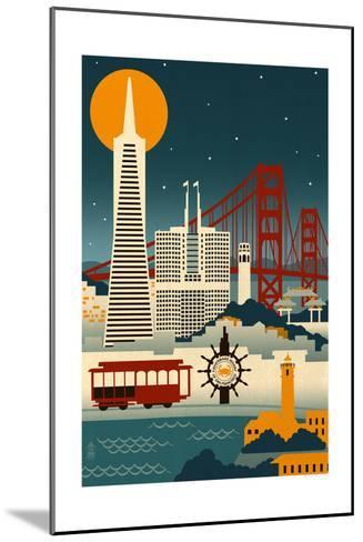 San Francisco, California - Retro Skyline (no text)-Lantern Press-Mounted Art Print