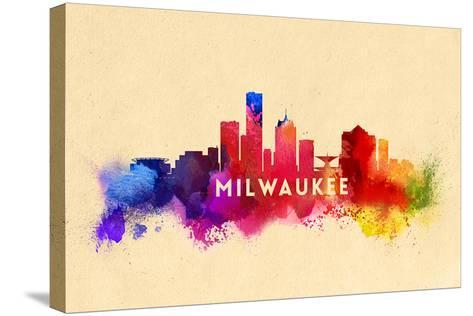 Milwaukee, Wisconsin - Skyline Abstract-Lantern Press-Stretched Canvas Print