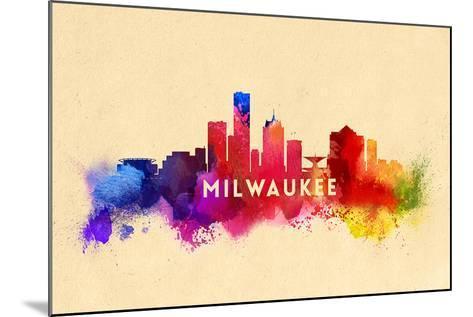 Milwaukee, Wisconsin - Skyline Abstract-Lantern Press-Mounted Art Print