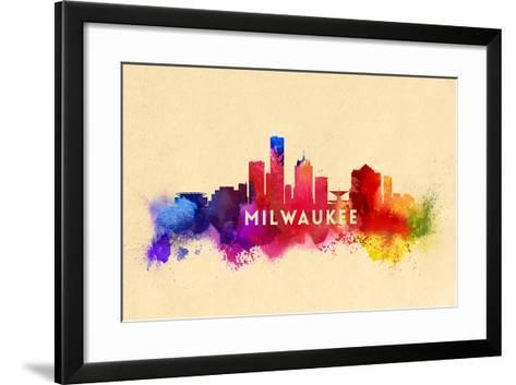 Milwaukee, Wisconsin - Skyline Abstract-Lantern Press-Framed Art Print