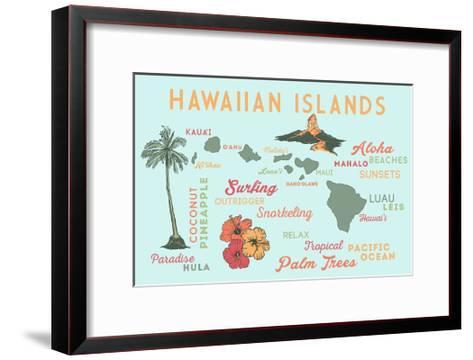 Hawaiian Islands - Typography and Icons-Lantern Press-Framed Art Print