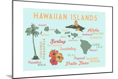 Hawaiian Islands - Typography and Icons-Lantern Press-Mounted Art Print