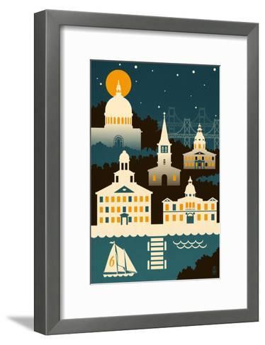 Annapolis, Maryland - Retro Skyline (no text)-Lantern Press-Framed Art Print