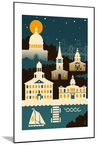 Annapolis, Maryland - Retro Skyline (no text)-Lantern Press-Mounted Art Print