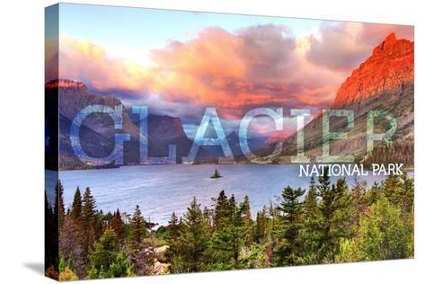 Glacier National Park, Montana - St. Mary Lake and Sunset-Lantern Press-Stretched Canvas Print