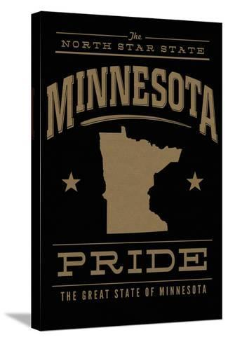 Minnesota State Pride - Gold on Black-Lantern Press-Stretched Canvas Print